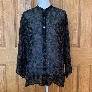 Chico's Design Size 2 Sheer Printed Blouse M